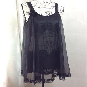 Vintage Black Sheer Lace Baby Doll Nightie M